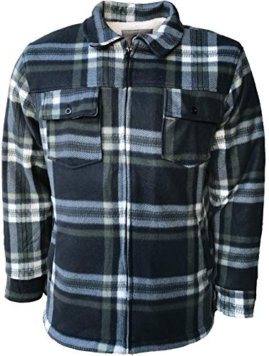 Mens Padded Shirts Lumberjack Hooded Flannel Check Jacket Thick Quilted Work Wear Warm Thermal Fleece Fur Lined Top… 1