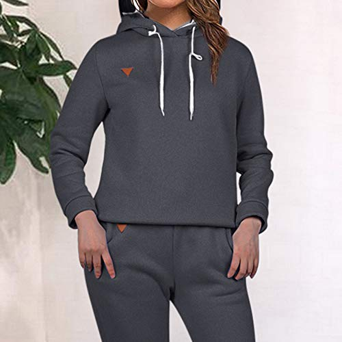 MoneRffi Women Tracksuit 2 Piece Set Casual Pullover Hoodie Tops and Sweatpants Sportwear Jogger Outfits Loungwear Set 5
