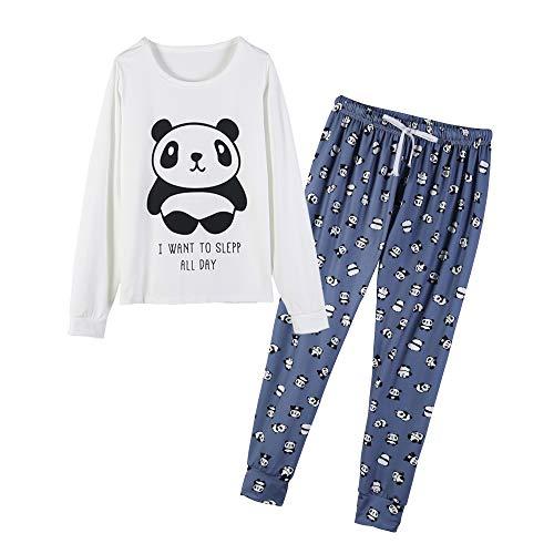 MyFav Women's Sleepwear Long Sleeve Top and Pants Pyjama Set Panda Print Nighty 1