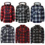 MyShoeStore Unisex Padded Shirts Lumberjack Collared Hooded Flannel Check Jacket Thick Quilted Work Wear Warm Thermal… 2