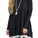 NICIAS Womens Lace Casual Long Sleeve Tunic Tops Loose Blouse T Shirt 12