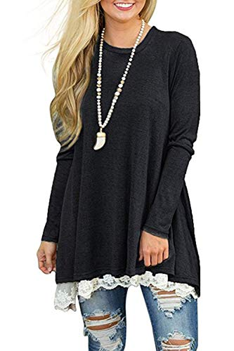 NICIAS Womens Lace Casual Long Sleeve Tunic Tops Loose Blouse T Shirt 3