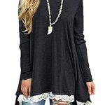 NICIAS Womens Lace Casual Long Sleeve Tunic Tops Loose Blouse T Shirt 14