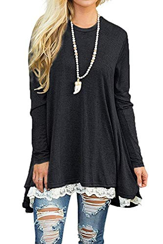NICIAS Womens Lace Casual Long Sleeve Tunic Tops Loose Blouse T Shirt 5