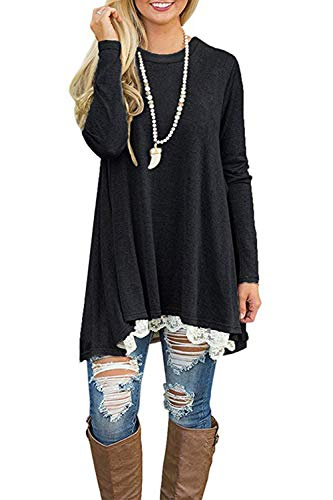 NICIAS Womens Lace Casual Long Sleeve Tunic Tops Loose Blouse T Shirt 1