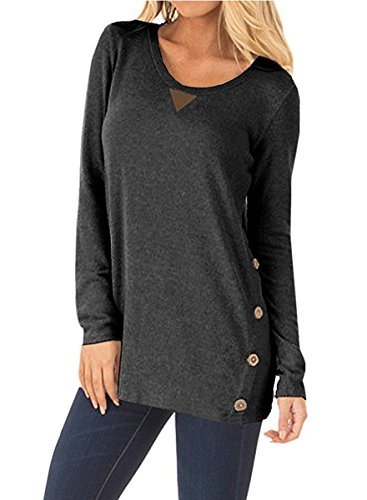 NICIAS Womens Side Buttons Long Sleeve Casual Crew Neck Elbow Patched Sweatshirt Loose T Shirt Blouses Tunic Tops 3
