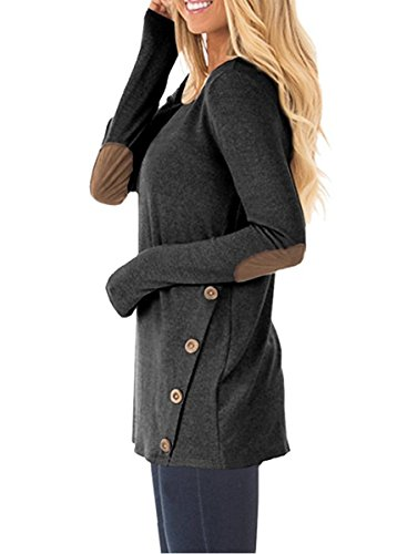 NICIAS Womens Side Buttons Long Sleeve Casual Crew Neck Elbow Patched Sweatshirt Loose T Shirt Blouses Tunic Tops 4