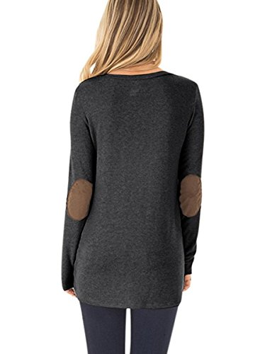 NICIAS Womens Side Buttons Long Sleeve Casual Crew Neck Elbow Patched Sweatshirt Loose T Shirt Blouses Tunic Tops 7