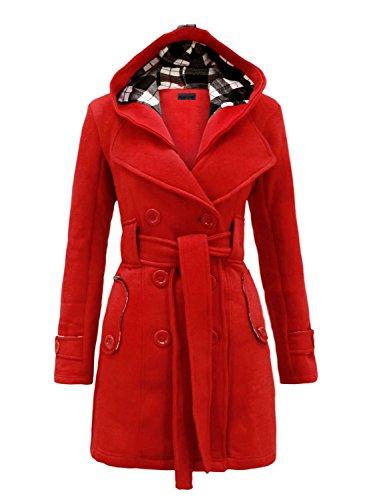 NOROZE Womens Long Sleeve Belted Button Fleece Coat 1