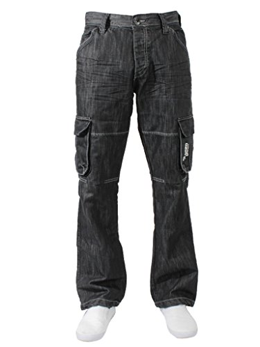 New ENZO Mens Designer Cargo Combat Blue Coated Denim Jeans Pants All Waist Size 3