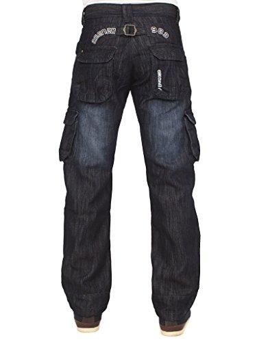 New ENZO Mens Designer Cargo Combat Blue Coated Denim Jeans Pants All Waist Size 5