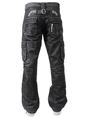 New ENZO Mens Designer Cargo Combat Blue Coated Denim Jeans Pants All Waist Size 1
