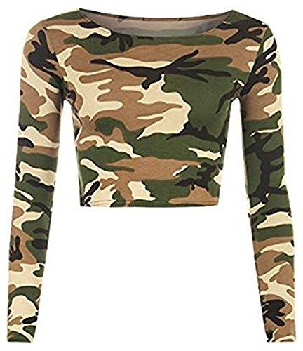 New Womens Crop Long Sleeve T Shirt Ladies Short Plain Round Neck Top 8-14 1