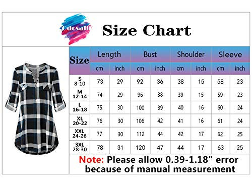 Odosalii Womens Zip Up Plaid Tunic Blouse Rolled Up Sleeve Polo Top Check Shirts 4