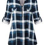 Odosalii Womens Zip Up Plaid Tunic Blouse Rolled Up Sleeve Polo Top Check Shirts 15