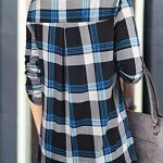 Odosalii Womens Zip Up Plaid Tunic Blouse Rolled Up Sleeve Polo Top Check Shirts 18