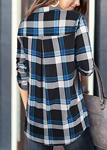 Odosalii Womens Zip Up Plaid Tunic Blouse Rolled Up Sleeve Polo Top Check Shirts 5