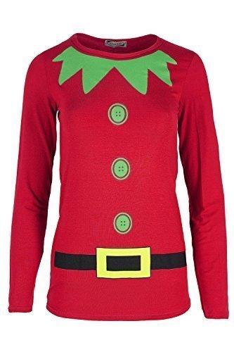 Oops Outlet Ladies Womens Xmas Santa Claus Belt Print Long Sleeves Novelty Snowman T Shirt Funny Fancy Festive Present 1