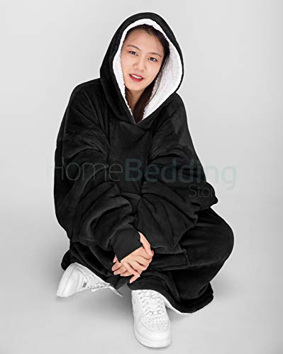Oversize Teddy Sherpa Cuddly Cosy Sweatshirt Hoodie Double Layer Thermal Giant Blanket with Front Pocket Adults Teens… 3