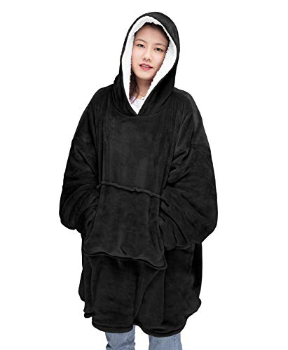 Oversize Teddy Sherpa Cuddly Cosy Sweatshirt Hoodie Double Layer Thermal Giant Blanket with Front Pocket Adults Teens… 1
