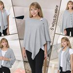 PULI Women Button Knitted Shawl Poncho Cape Cardigan Cashmere/Cashmere Feel Wrap Scarf for Spring Summer Autumn 16