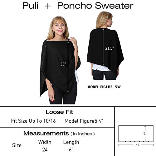 PULI Women Button Knitted Shawl Poncho Cape Cardigan Cashmere/Cashmere Feel Wrap Scarf for Spring Summer Autumn 4