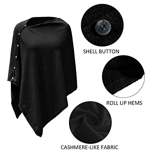 PULI Women Button Knitted Shawl Poncho Cape Cardigan Cashmere/Cashmere Feel Wrap Scarf for Spring Summer Autumn 6