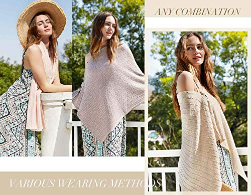 PULI Women Button Knitted Shawl Poncho Cape Cardigan Cashmere/Cashmere Feel Wrap Scarf for Spring Summer Autumn 7