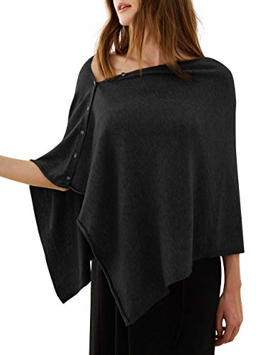 PULI Women Button Knitted Shawl Poncho Cape Cardigan Cashmere/Cashmere Feel Wrap Scarf for Spring Summer Autumn 1
