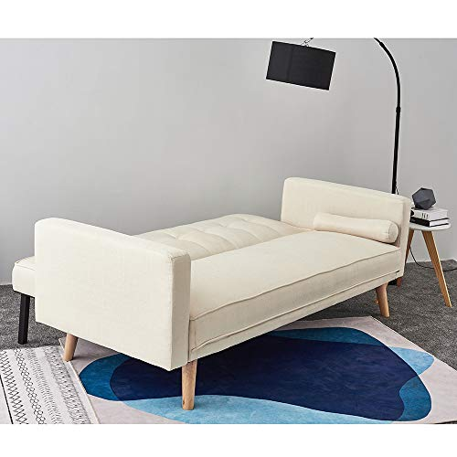 Panana Modern 3 Seater Sofa Bed Line Fabric Sofa Couch Settee Click Clack Recliner Sleeper with 2 Free Cushions for… 4
