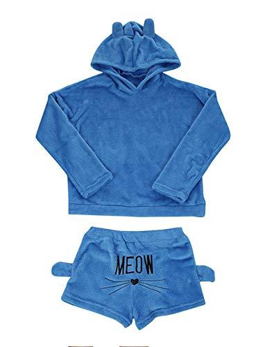 Poplover Womens Cute Fleece Pajamas Suit Hooded Sleepwear Meow Shorts Set 3