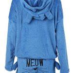 Poplover Womens Cute Fleece Pajamas Suit Hooded Sleepwear Meow Shorts Set 17