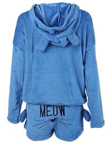 Poplover Womens Cute Fleece Pajamas Suit Hooded Sleepwear Meow Shorts Set 4