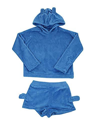Poplover Womens Cute Fleece Pajamas Suit Hooded Sleepwear Meow Shorts Set 5