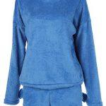 Poplover Womens Cute Fleece Pajamas Suit Hooded Sleepwear Meow Shorts Set 19
