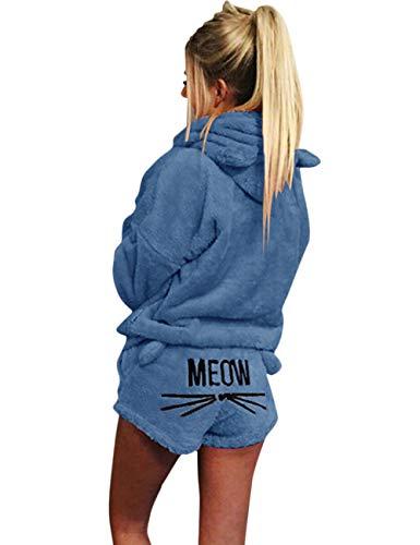 Poplover Womens Cute Fleece Pajamas Suit Hooded Sleepwear Meow Shorts Set 1