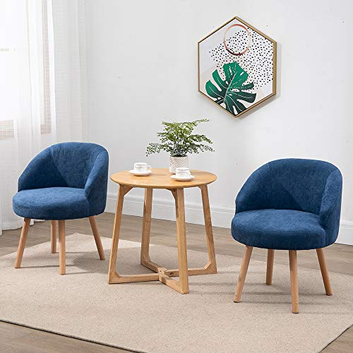 QIHANG-UK 2 Pcs Modern Fabric Armchairs, Small Living Room Chairs Set of 2 with Solid Wood Legs, Occasional Chairs Sofa… 4