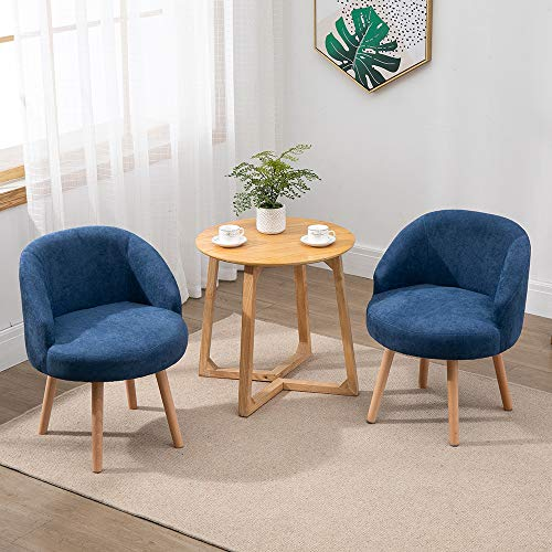 QIHANG-UK 2 Pcs Modern Fabric Armchairs, Small Living Room Chairs Set of 2 with Solid Wood Legs, Occasional Chairs Sofa… 1