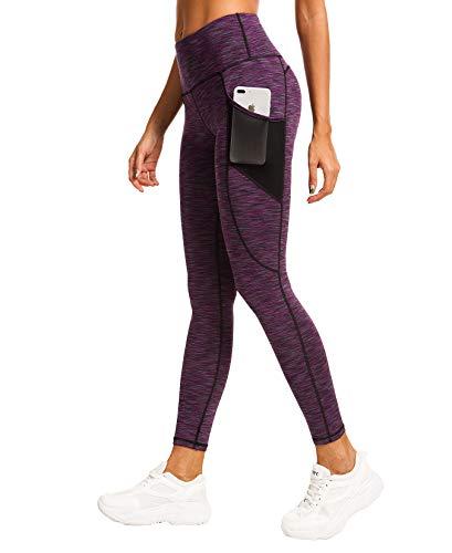 QUEENIEKE Women Yoga Leggings Power Flex Mesh Mid Waist 3 Phone Pocket Gym Running Tights 4