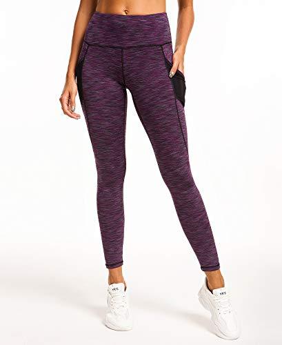 QUEENIEKE Women Yoga Leggings Power Flex Mesh Mid Waist 3 Phone Pocket Gym Running Tights 5