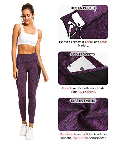 QUEENIEKE Women Yoga Leggings Power Flex Mesh Mid Waist 3 Phone Pocket Gym Running Tights 6
