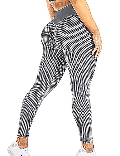 RIOJOY Scrunch Butt Gym Leggings Women 3D Mesh Knitted Bubble Textured Anti-Cellulite Gym Leggings High Waist 1