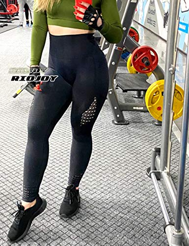 RIOJOY Hollow Out Seamless Leggings Women Gym High Waisted Slimming Energy Fitness Leggings 3
