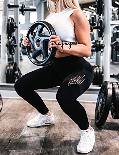 RIOJOY Hollow Out Seamless Leggings Women Gym High Waisted Slimming Energy Fitness Leggings 6