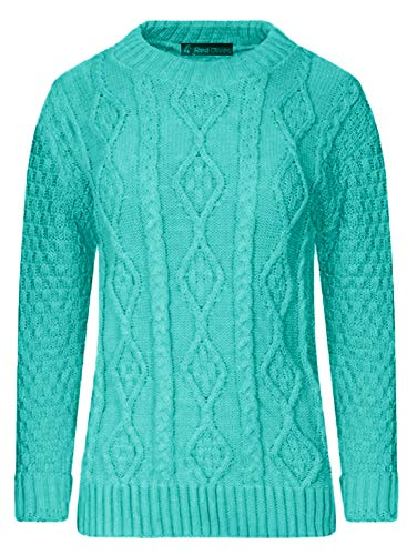 Red Olives Ladies Womens New Chunky Diamond Cable Knitted Long Sleeve Sweater Pull Over Jumper Top 1