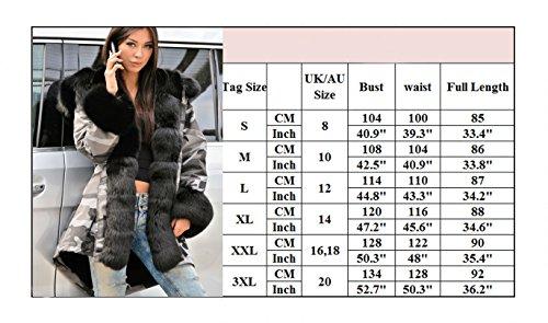 Roiii Women Winter Warm Thick Faux Fur Coat Hood Parka Long Jacket Size 8-20 3