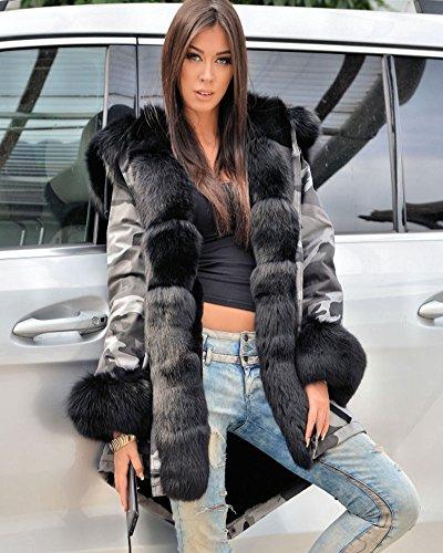 Roiii Women Winter Warm Thick Faux Fur Coat Hood Parka Long Jacket Size 8-20 4