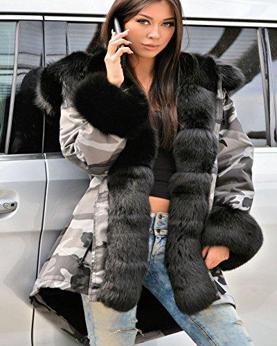Roiii Women Winter Warm Thick Faux Fur Coat Hood Parka Long Jacket Size 8-20 6