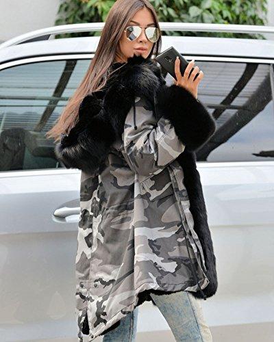 Roiii Women Winter Warm Thick Faux Fur Coat Hood Parka Long Jacket Size 8-20 7