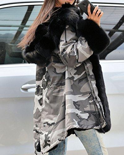 Roiii Women Winter Warm Thick Faux Fur Coat Hood Parka Long Jacket Size 8-20 8